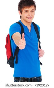portrait of smiley student showing thumbs up over white background