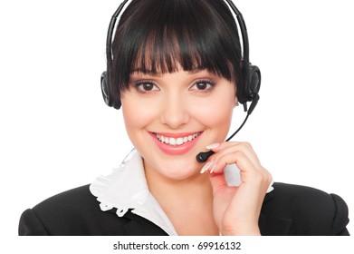 portrait of smiley telephone operator over grey background