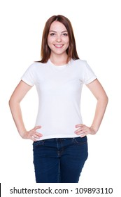 portrait of smiley young woman in t-shirt over white background