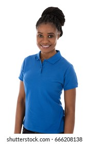 Portrait Of A Smiling African Female Janitor With Arms Crossed