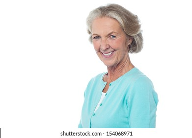 Portrait of a smiling aged isolated lady