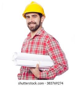 Portrait of smiling architect holding blueprints on white background