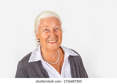 portrait of smiling attractive senior woman