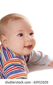 Portrait of smiling baby boy on white background