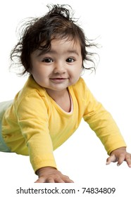 Portrait of a Smiling Baby Girl, Isolated, White