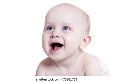 portrait of a smiling baby isolated on white background