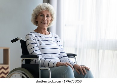 Portrait of smiling beautiful grey haired older mature woman sitting in wheelchair indoors. Happy middle aged senior retired disabled grandma looking at camera, relaxing at home or retirement house.