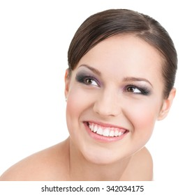 Portrait of smiling beautiful  woman with makeup, isolated on white