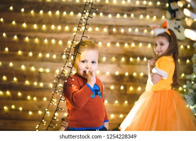 portrait of smiling boy and his sister in christmas lights