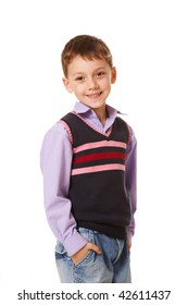 Portrait of smiling boy looking at camera on a white background