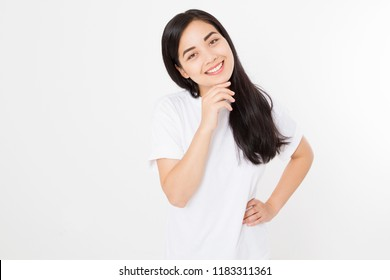 Portrait of smiling Brunette asian girl with long and shiny straight female hair isolated on white background . Beautiful woman korean model with straight hairstyle. Healthy teeth. Copy space.