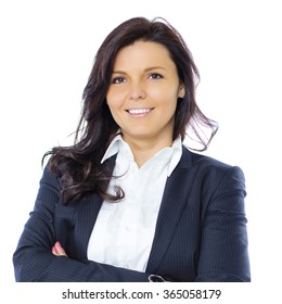 Portrait of smiling brunette business woman, isolated on white background