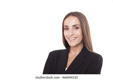 Portrait of a smiling business woman in a black jacket on a white background.