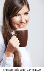 Portrait of smiling  business woman with cup, isolated