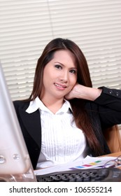 portrait smiling business woman on relaxed
