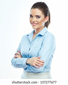 Portrait of smiling business woman  white background isolated. Female business model .