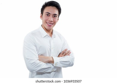 Portrait of smiling Businessman isolated in white background.