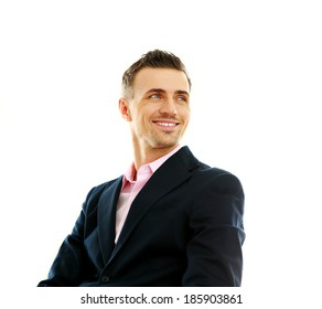 Portrait of a smiling businessman looking away isolated on a white background