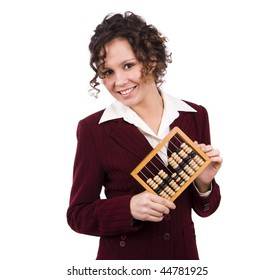 Portrait of a smiling businesswoman holding wooden abacus.  Young attractive girl use an abacus. Isolated over white background.