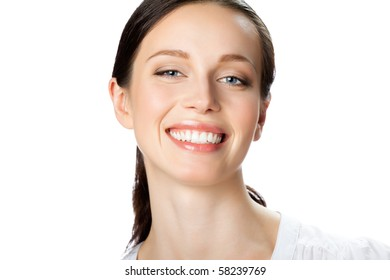 Portrait of smiling businesswoman, isolated on white