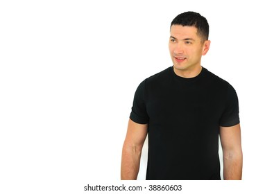 A portrait of a smiling Caucasian athletic man isolated over white background.