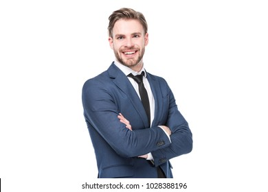 portrait of smiling caucasian businessman with arms crossed isolated on white  background