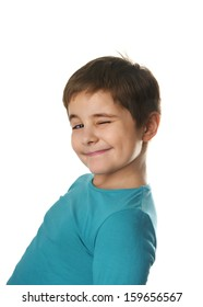 Portrait of smiling charming little boy isolated on white background
