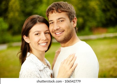 Portrait of a smiling couple expressing love and affection