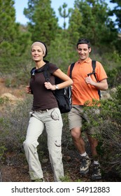 Portrait of a smiling couple hiking