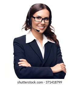 Portrait of smiling customer support phone operator in glasses, isolated against white background