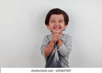 Portrait of a smiling cute little boy