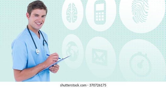Portrait of smiling doctor holding clipboard and pen against blue background