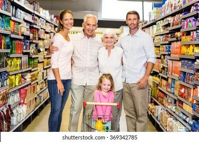 Portrait of smiling extended family at the supermarket