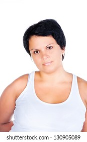 portrait of smiling fat woman