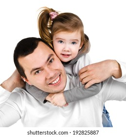 Portrait of smiling father and daughter isolated on a white