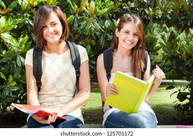 Portrait of smiling female students