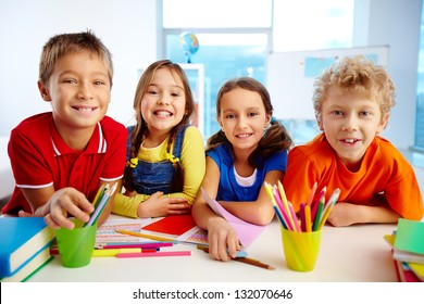 Portrait of smiling friends enjoying their day at school