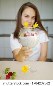 Portrait Smiling Girl Chiapudding Kitchen Background Healthy Super Food Concept