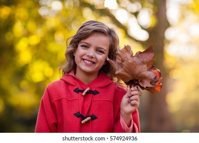 Portrait of smiling girl holding autumn leaves against tree at park