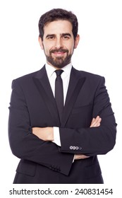 Portrait of a smiling handsome business man, isolated on white background