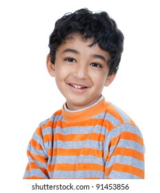 Portrait of a Smiling, Handsome Little Boy, Isolated, White