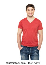 Portrait of smiling happy handsome man in casuals red t-shirt - isolated on white background