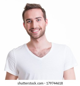 Portrait of smiling happy young man - isolated on white.
