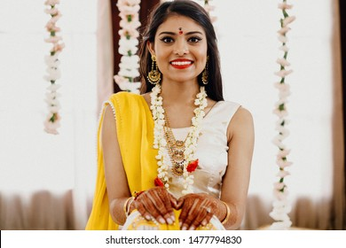 Portrait of a smiling Indian bride at a wedding ceremony