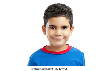 Portrait of a smiling latin boy  isolated on a white background