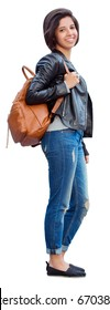 Portrait of smiling laughing beautiful young hispanic latin girl woman with short dark hair in blue jeans and leather biker jacket, holding backpack, isolated on white background