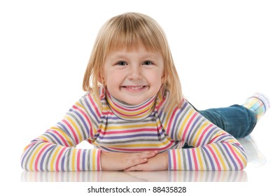 A portrait of a smiling little girl; isolated on the white background