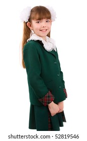 Portrait of smiling, little girl in school uniform. Isolated on white. Going to school is your future