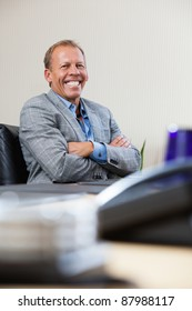Portrait of smiling mature executive sitting with hands folded