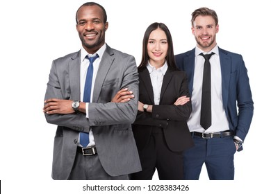 portrait of smiling multicultural young business people isolated on white  background